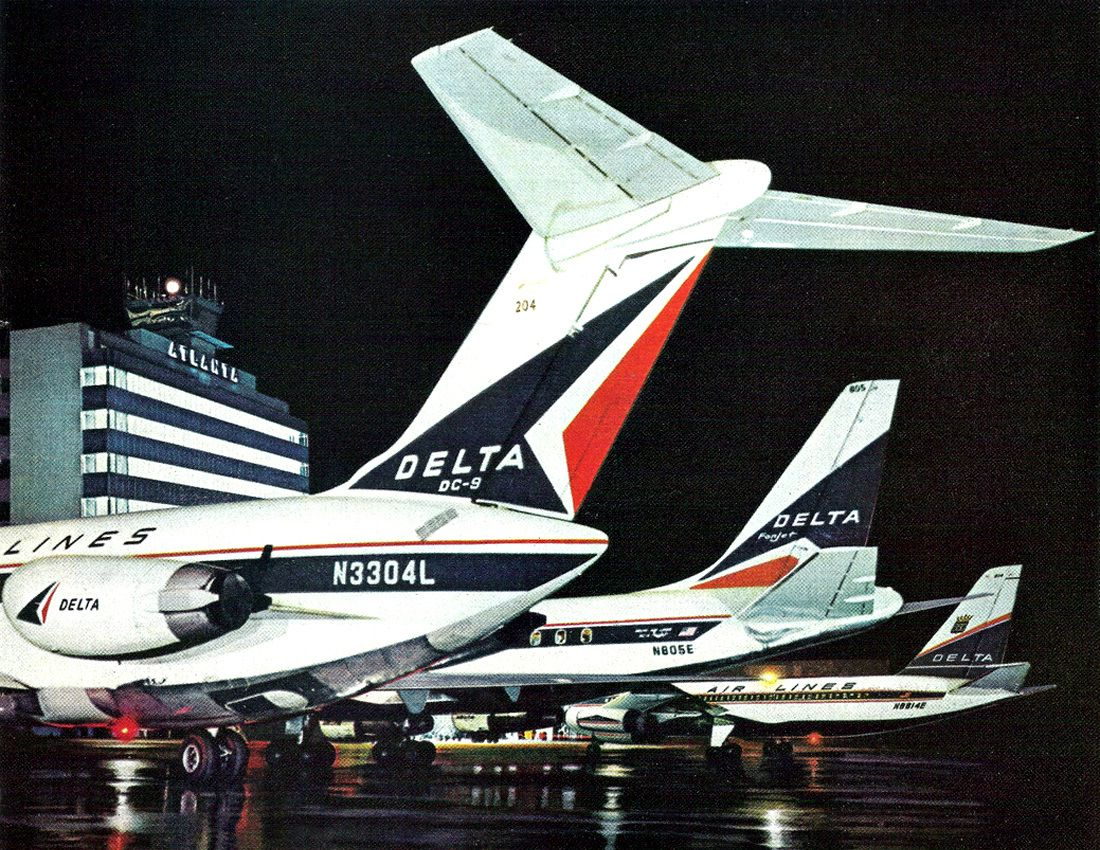 Delta Airlines ad from 1966 showing DC9, DC8 and Convair