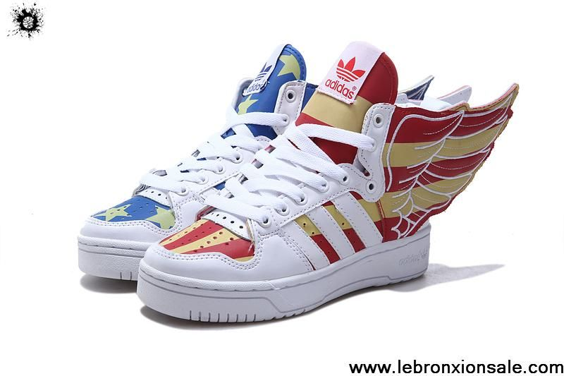 Comprar Adidas x Jeremy Scott Wings usa flag zapatos Brillan en la oscuridad