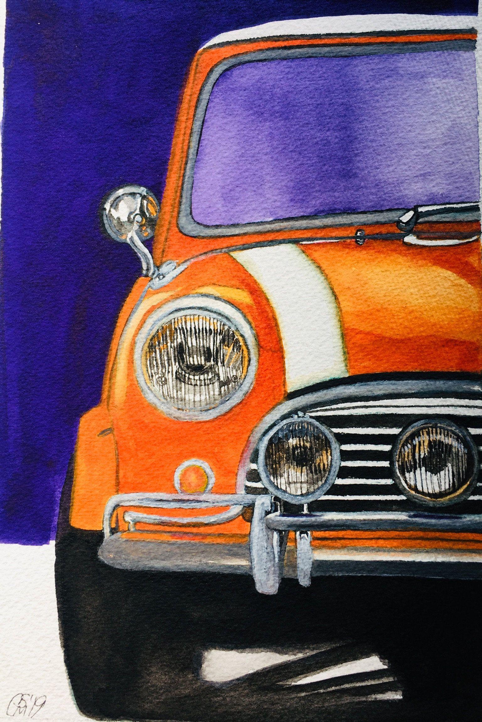 Mini Cooper Watercolor | Etsy