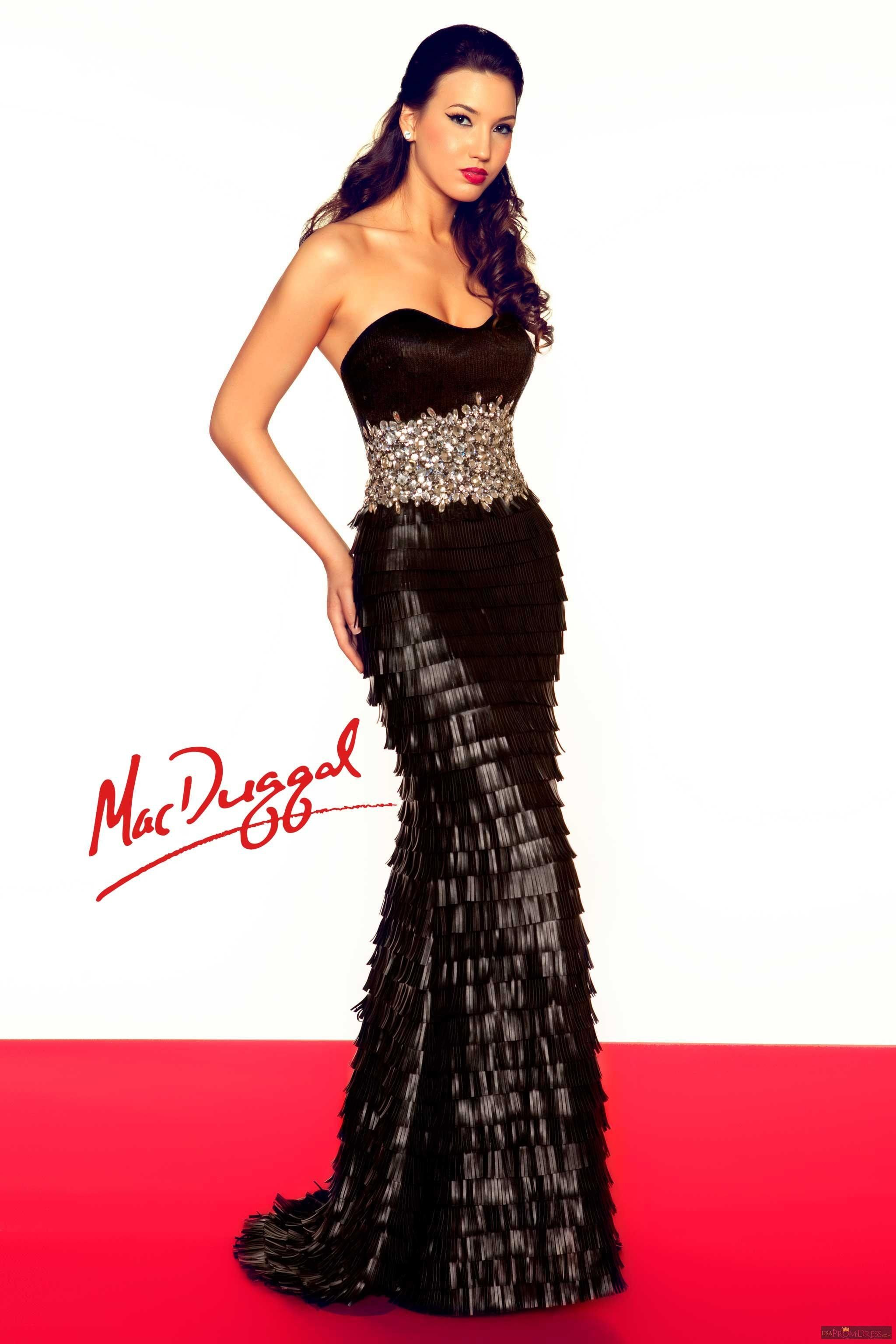 Mac duggal style r a very unique strapless evening gown
