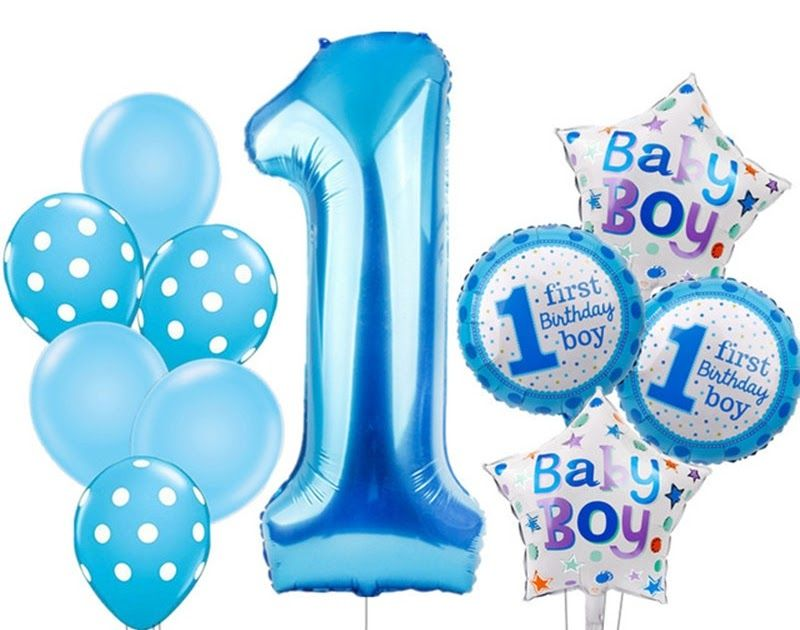 Best Price KAMMIZAD Baby 1st Birthday Balloons Set Pink Blue Number Foil Decorations Kids Party B Supplies