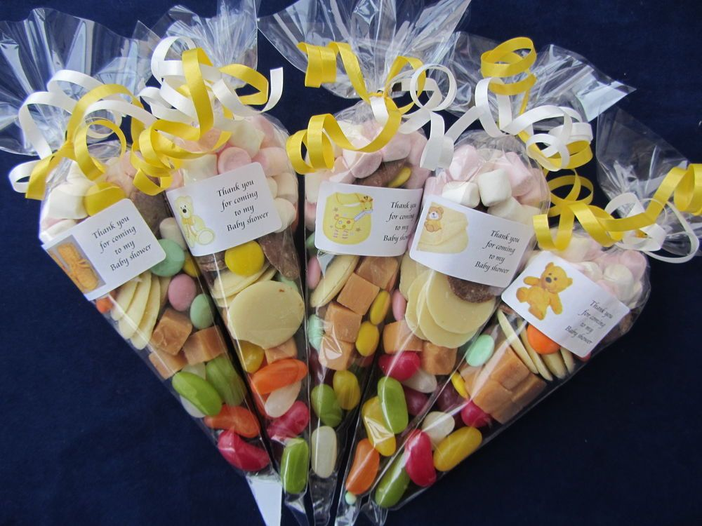 Personalised pre filled Baby Shower yellow 75g sweet cones party bag filler