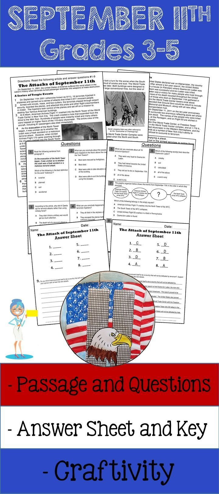 medium resolution of A September 11th informational text passage followed by a reading  comprehension assessmen…   Reading comprehension