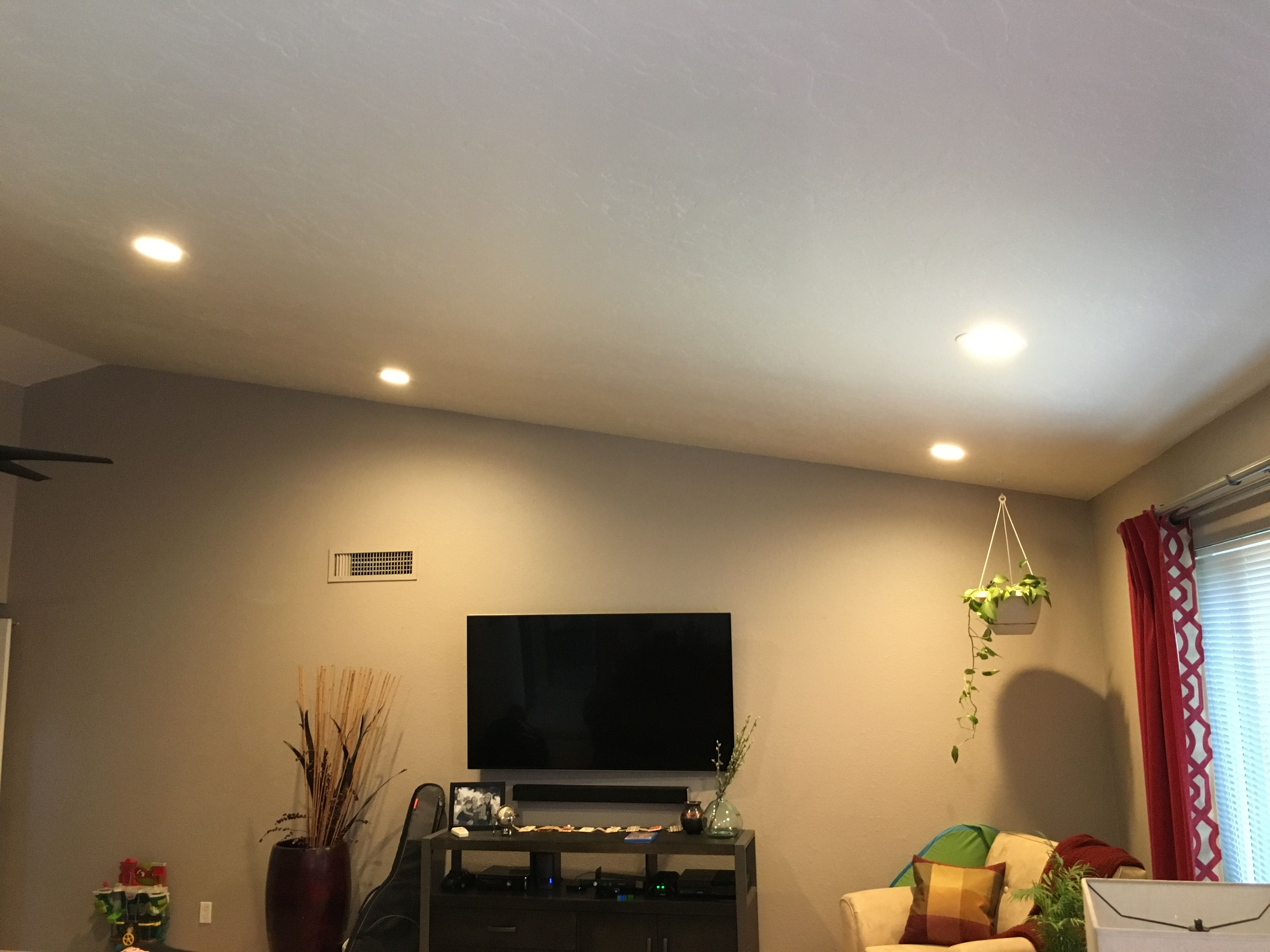 Family room Installed 4x 6-inch 2700k LED recessed lights converted one unused switch spliced in attic. & Family room Installed 4x 6-inch 2700k LED recessed lights ...
