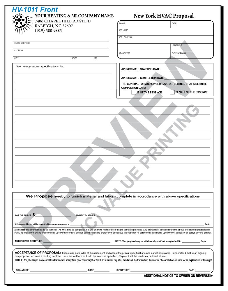 hv-1011 hvac service & repair proposal - ny compliant | value, Invoice templates