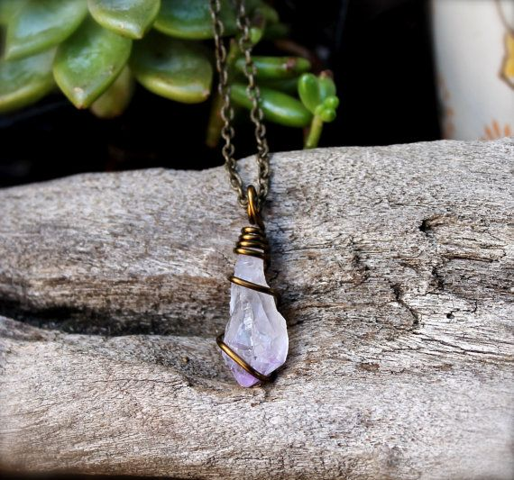 Natural Amethyst Jewelry - Wire Wrapped Stone Jewelry - Bohemian Jewelry - Boho Necklace - Rough Amethyst Necklace Natural Gemstone Jewelry