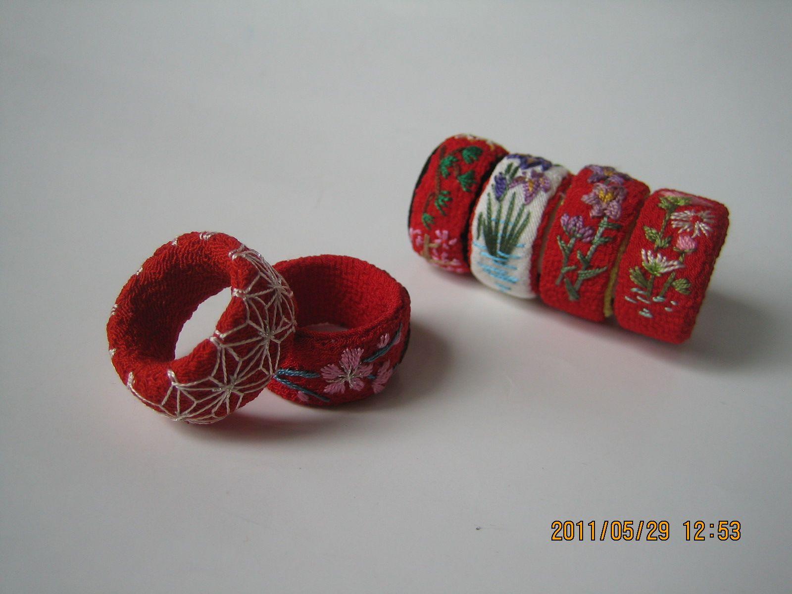 Yubinuki thimble rings with tiny embroidery work