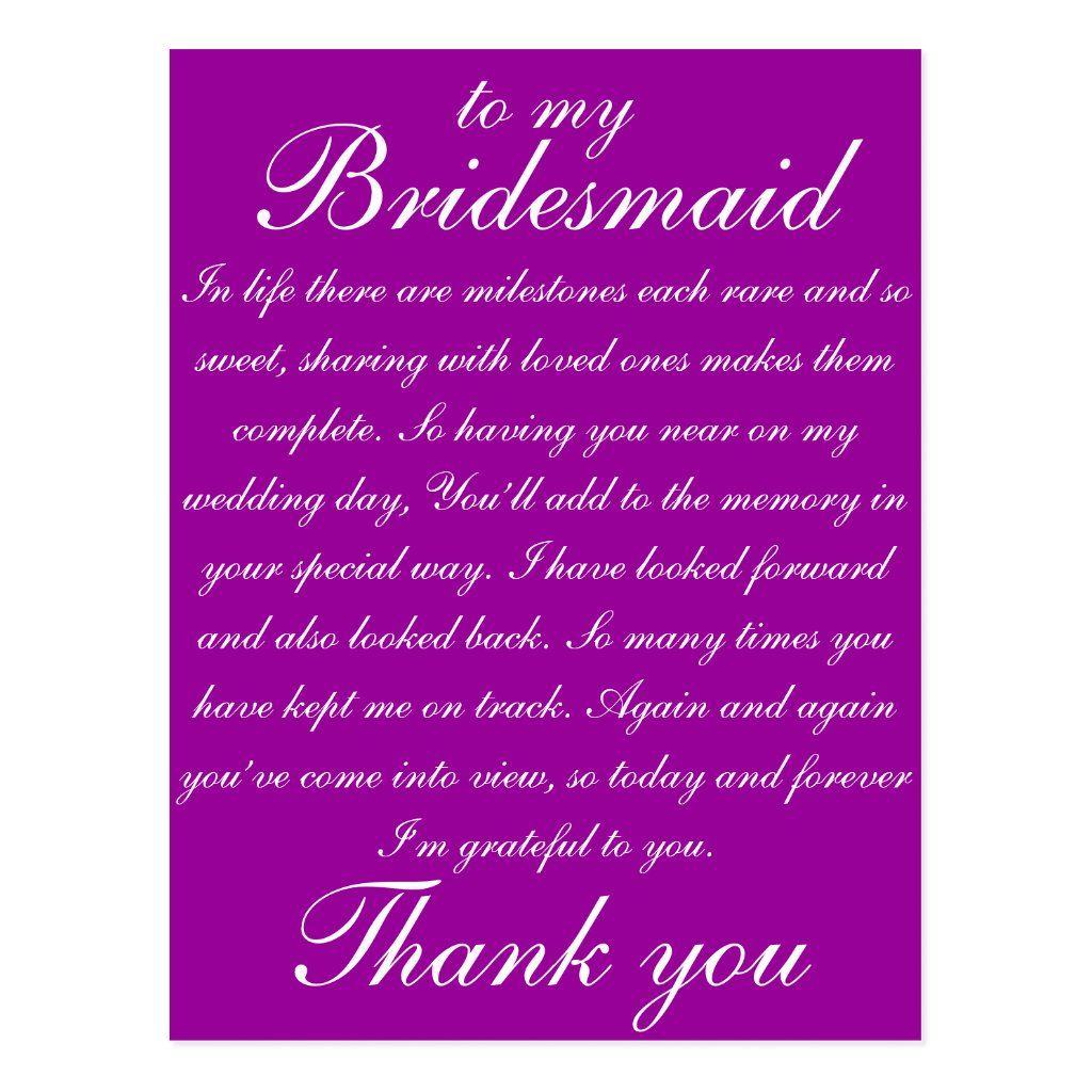 Bridesmaid Thank You Postcard Zazzle Com In 2021 Bridesmaid Thank You Bridesmaid Thank You Cards Bridesmaid Poems