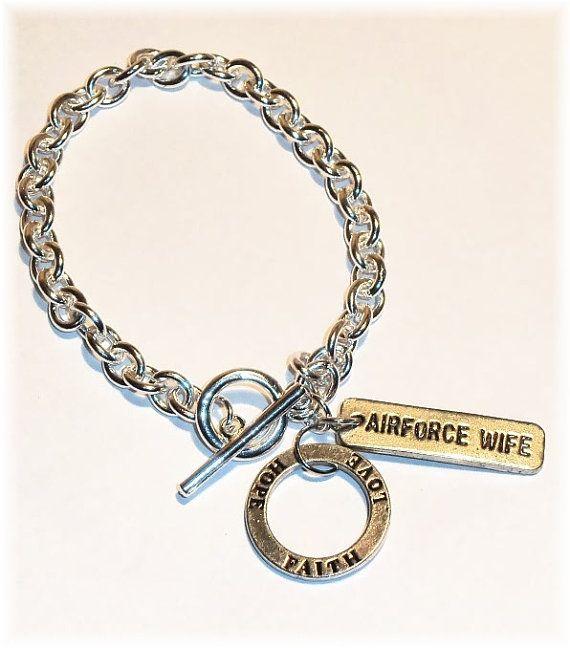 Airforce Wife Air Force - Faith Love Hope Charm Bracelet