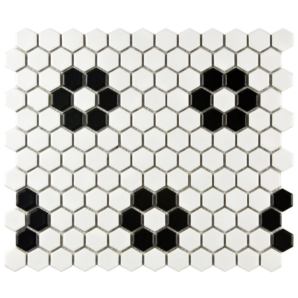 1 Hexagon Flower Pattern Mosaic Tile Black White Rosette Patter Matte Finish Mosaic Flooring Porcelain Mosaic Tile Porcelain Mosaic
