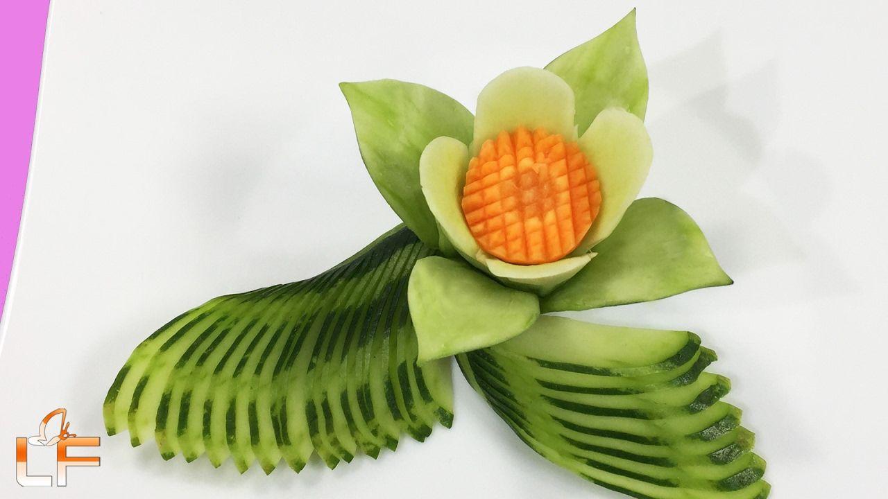 Art in cucumber flower carving garnish fruit u vegetable carving