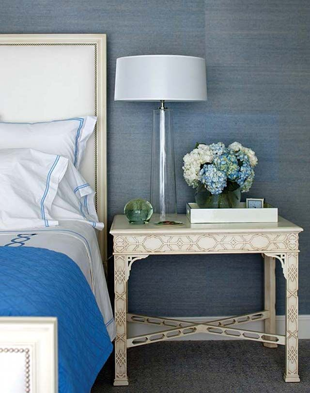 A Traditional Bedroom In Tones Of Blue. Fabulous Blue/grey Grasscloth  Wallpaper With Bright