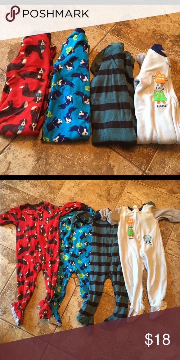 Baby/toddler boy footed pajamas Bundle includes: -Carter's, red dogs, size 24 months -Carter's  blue dogs size 24 -old navy rugby stripe 2T -absorba little monster size 24 months Carter's Pajamas Pajama Sets