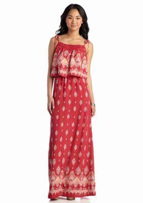 Fire  Printed Flounce Maxi Dress