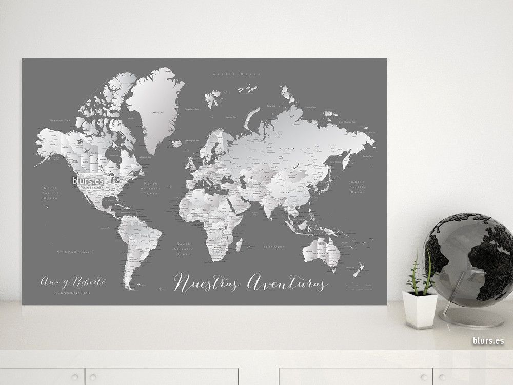 Silver leaf mapamundi personalizado para marcar viajes tonos personalized couple map pinboard foamcore map print push pin map push pin world map with cities travel push pin map gumiabroncs Choice Image