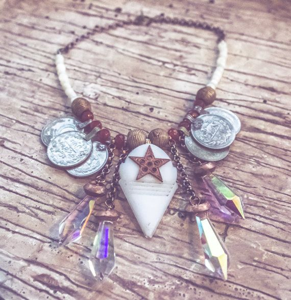 White Talhakimt And Copper Star Focal Necklace Boho Gypsy Tribal Belly Dance Festival Burning Man