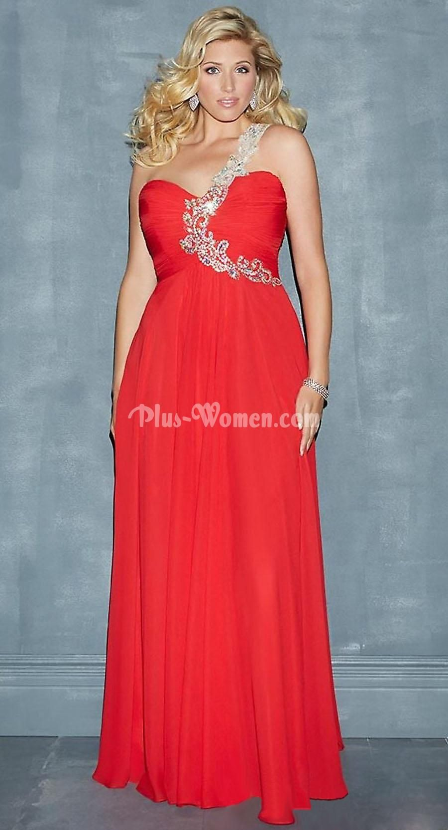 One shoulder floor length red plus size prom formal dress love it