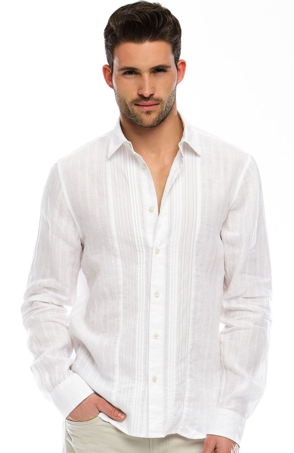 fba0cbaed0 Linen Tuxedo Shirt - Dress Shirts - Shirts - Mens - Armani Exchange Might  as well pick out something for the groom too