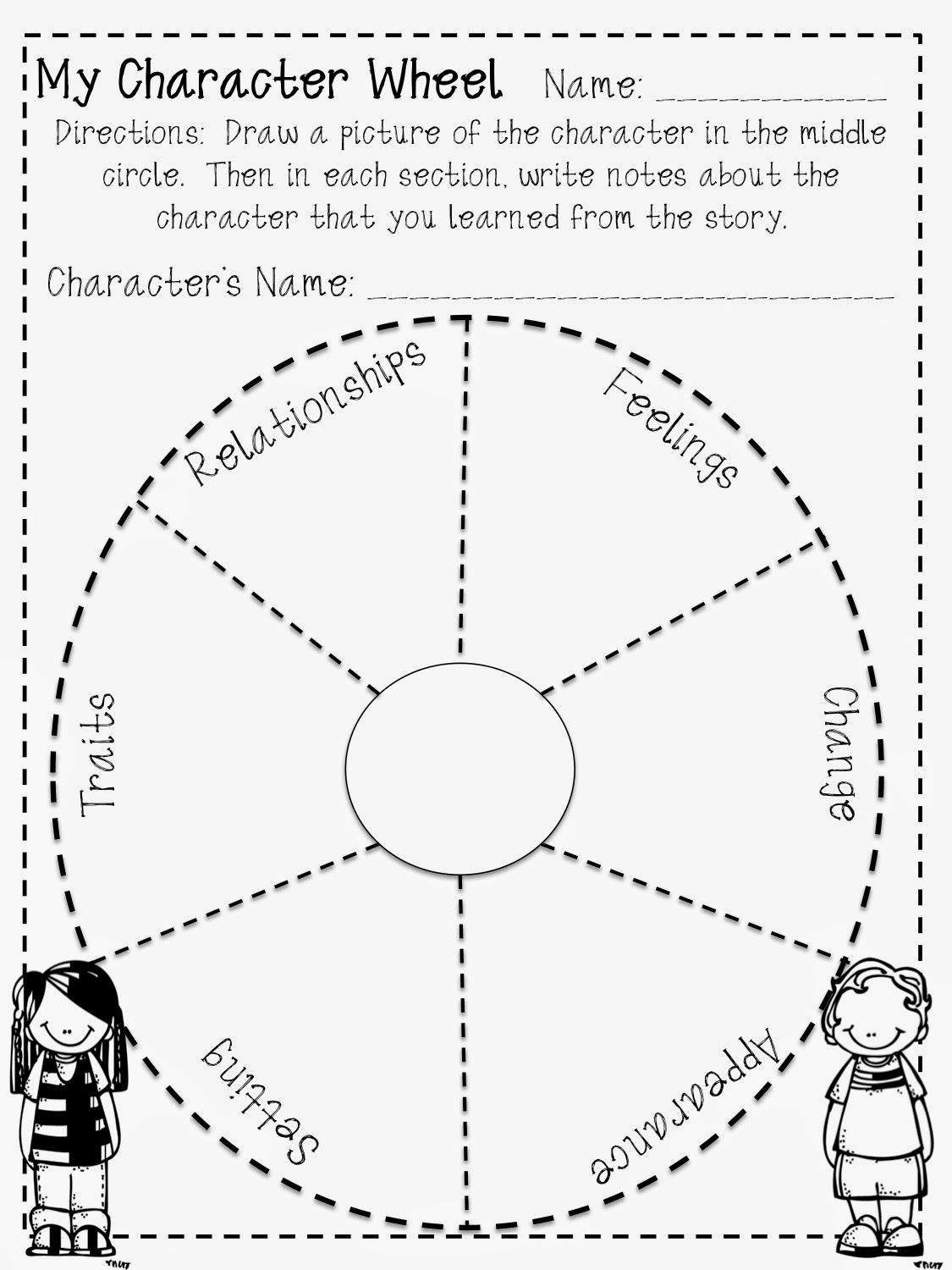 Reading Character Wheel Freebie   Reading classroom [ 1500 x 1125 Pixel ]