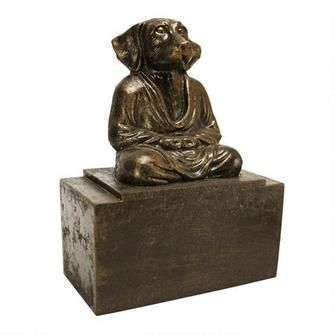 Meditating Asian Dog Cast Iron Canine Bookend - Toscano