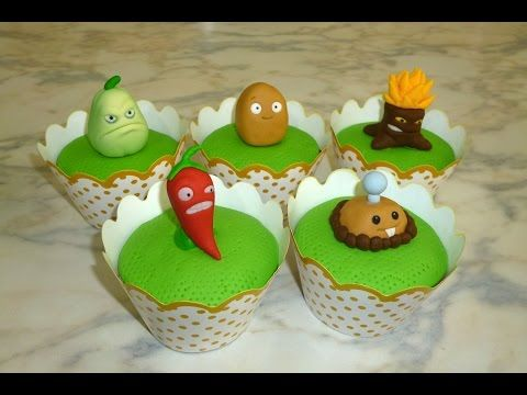 How to make Plants vs Zombies cupcakes (part 2/3) / Cupcakes de Plantas Vs Zombies parte 2 - YouTube