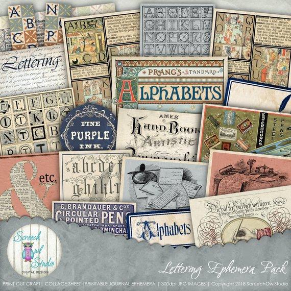 Printable Journal Ephemera Collage Sheet Vintage Etsy Collage Sheet Ephemera Paper Craft Supplies