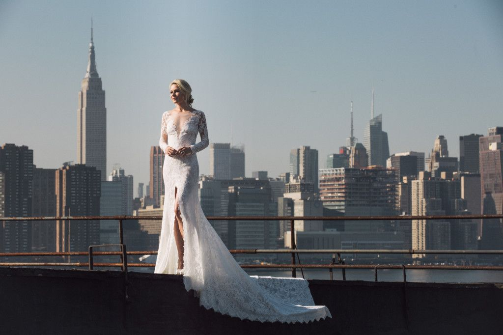 Next, it was up to the rooftop at Colony Studios to get some great shots of Blair under the late-afternoon sun wearing lacey Nenufar dress from the Atelier Pronovias 2017 Collection. This is one of our favorite photos with the iconic New York skyline in the background.