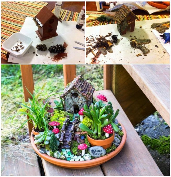 Diy Fairy House 1 Mini Bird House From Michael 39 S Painted Dark Covered In Tree Bark And