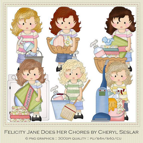 Cheryl Teacher >> NEW Felicity Jane Does Her Chores Clipart by Cheryl by marlodeedesigns, $1.25 | Teacher ...