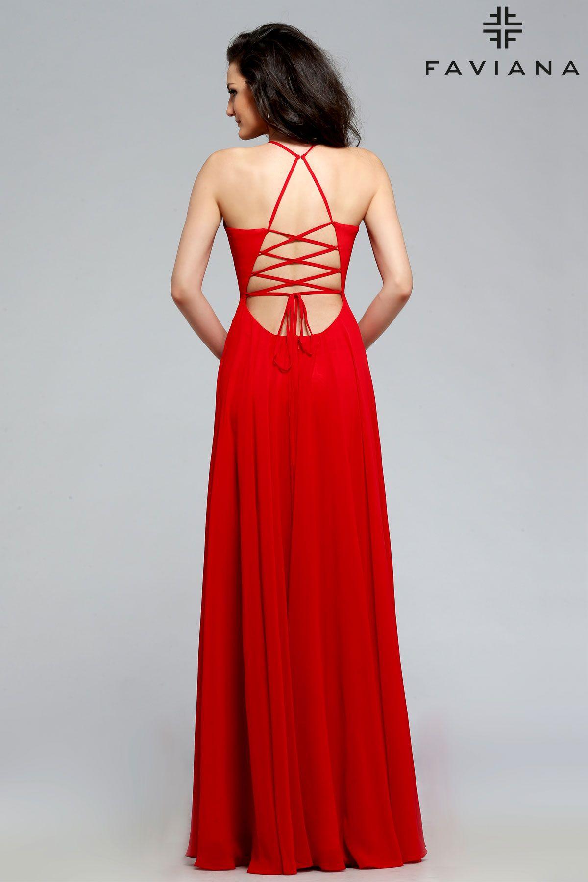a7ef10db33e Chiffon v-neck with full skirt  Faviana Style 7747  PromDresses ...