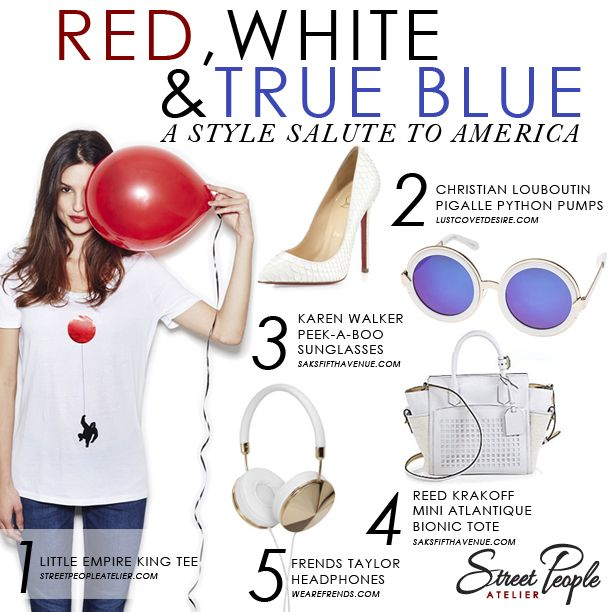 Countdown to 4th of July! Bright-white accessories add modern edge to a classic dark-denim-and-tee combo. Shop Street People Atelier Little Empire King tee: streetpeopleatelier.com