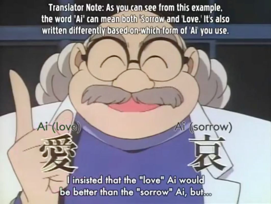 Detective Conan (Case Closed) - Did You Know By Hiroshi Agasa(-Hakase) ~ Ài  爱 means Love and Āi 哀 means Sorrow