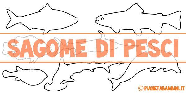 Sagome di pesci da colorare e ritagliare per bambini for Disegni di pesci da colorare e stampare gratis