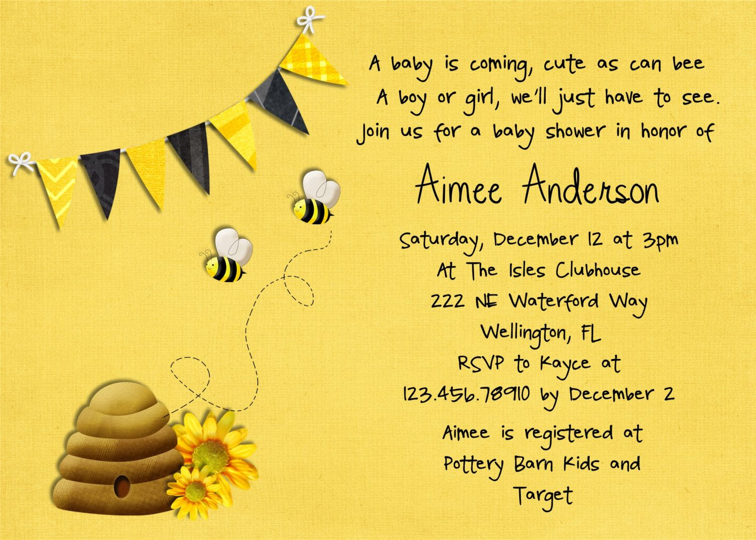 Honey Bee Baby Shower Invitation Printable And Custom Party Ideas