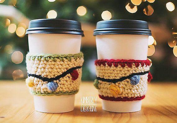 Instant Pdf Download Christmas Lights Coffee Sleeve Crochet Etsy Crochet Coffee Cozy Coffee Sleeve Pattern Crochet Mug Cozy