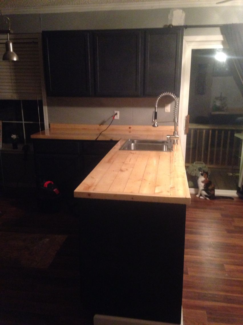 2x4 Counter Top With 1x2 Around Edge Countertops Home Kitchens Diy Countertops