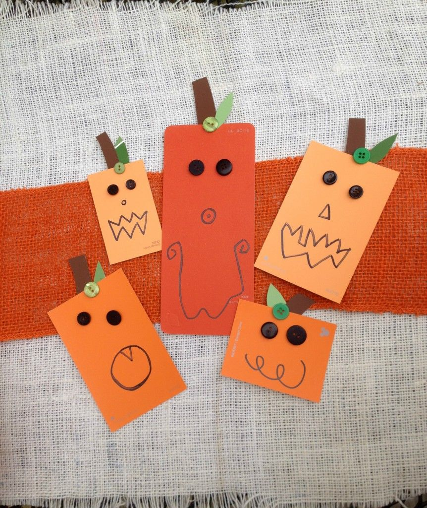 Make a Paint Chip Pumpkin Patch filled with Jack-O-Lanterns! From Laura Kelly's Inklings #GlueDots #halloween #kidscrafts #crafting