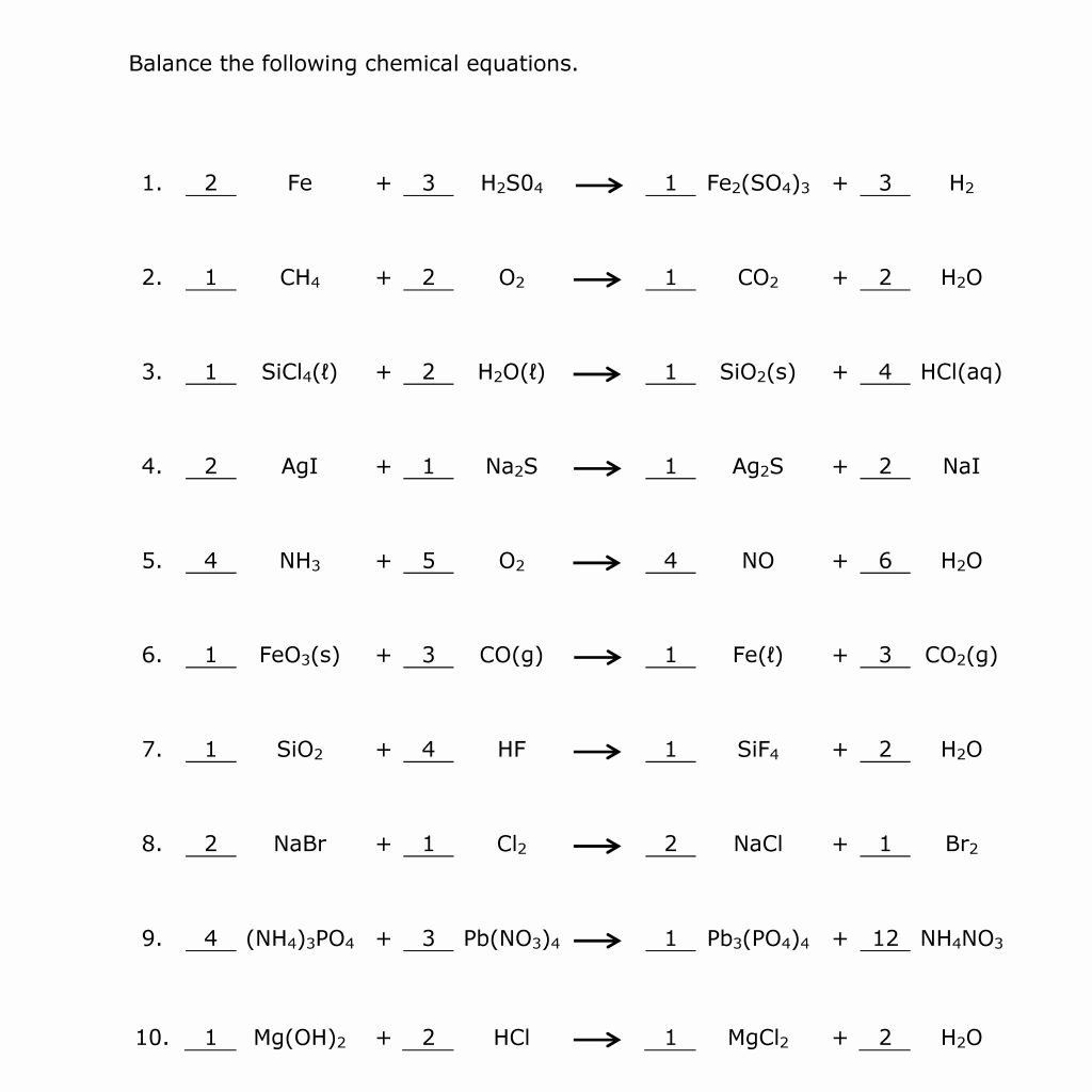 Balancing Act Worksheet Answer Key Balancing Equations