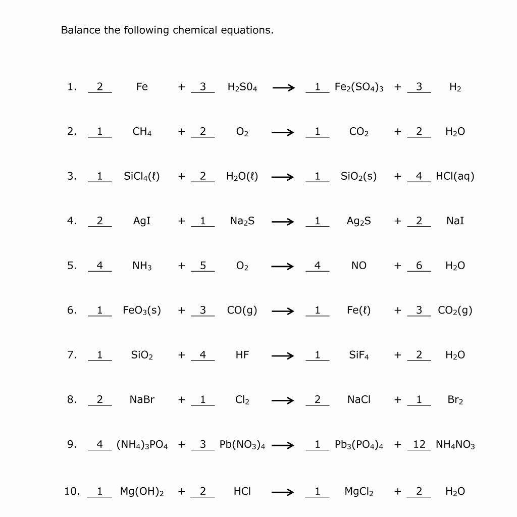 Balancing Act Worksheet Answer Key Balancing Equations