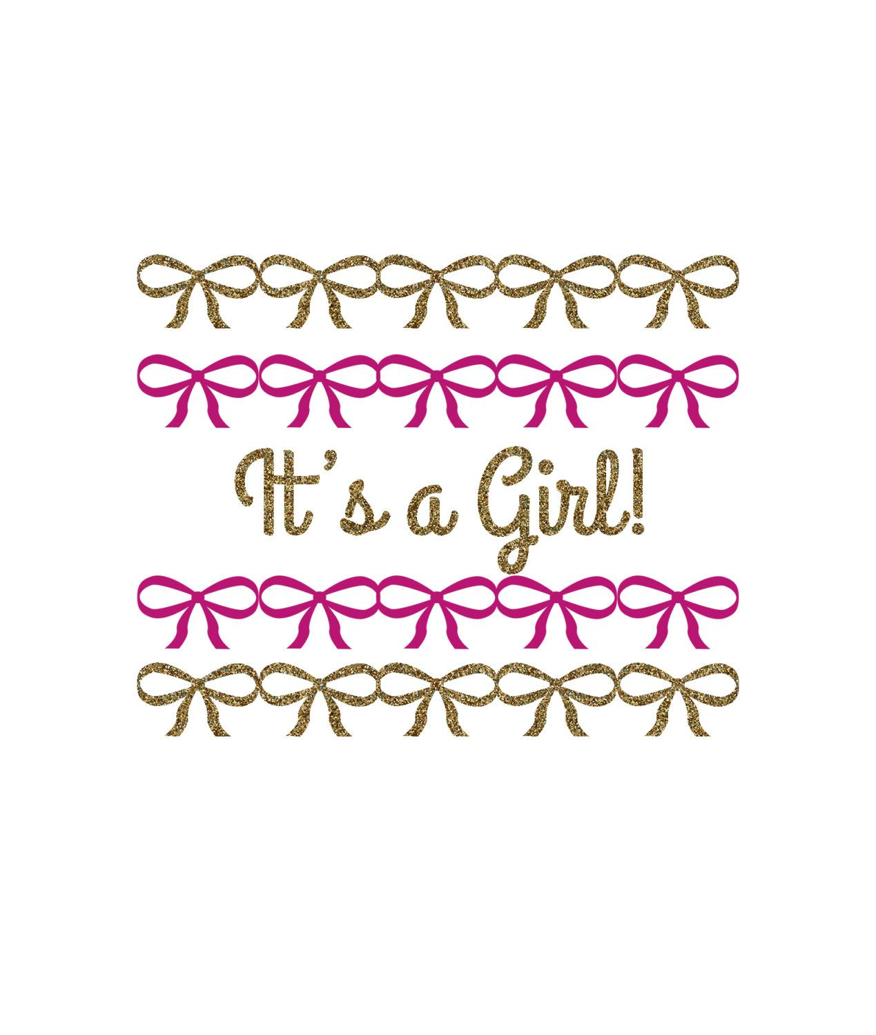 It's a Girl Bow Baby Shower Decor Design, Gift Tag, Invitation, Logo, Cupcake Topper, Gender Reveal Party, Digital Download by LunaSavita on Etsy