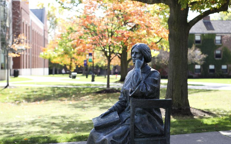 The Statue Of Dr. Elizabeth Blackwell Sits In Repose On ...