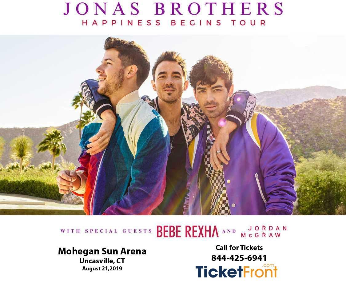 #JonasBrothers August 21, 2019, 7:30 pm #MoheganSunArena #Uncasville, CT #HappinessBegins