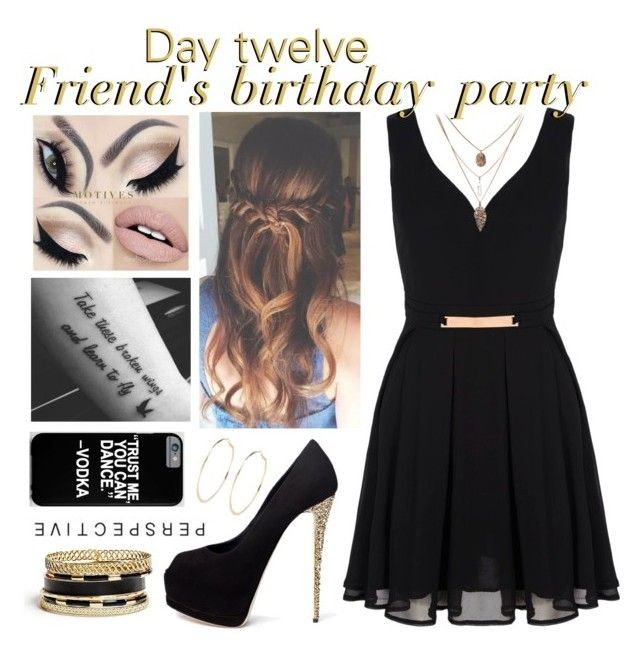 """""""Day 12, friend's birthday party"""" by roxouu ❤ liked on Polyvore featuring Giuseppe Zanotti, GUESS, Mela Loves London and River Island"""