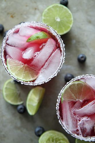 Blueberry Lime Margaritas - Heather Christo #limemargarita