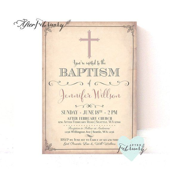 vintage baptism invitation girl christening invitation naming day