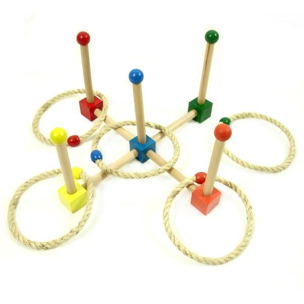 Quoits is a traditional game where the objective is to throw a rope ring (quoit) over an upright post.  This game is great for practicing motor skills and colou