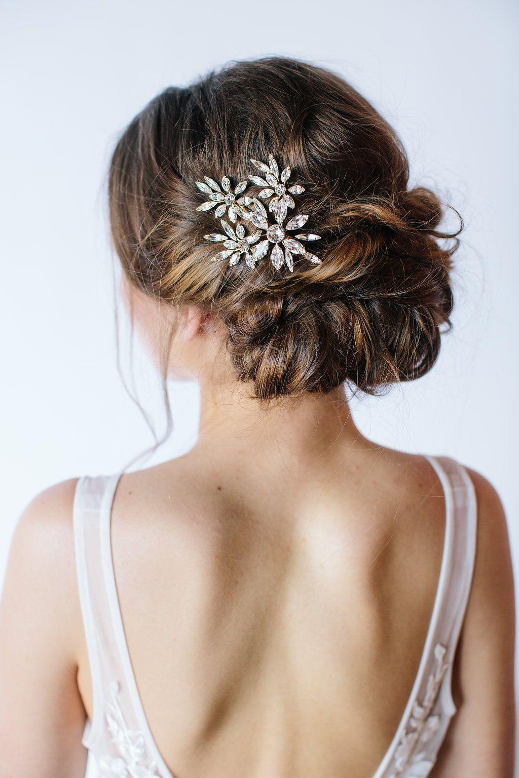 crystal bridal hair clip #weddinghairstyles | wedding