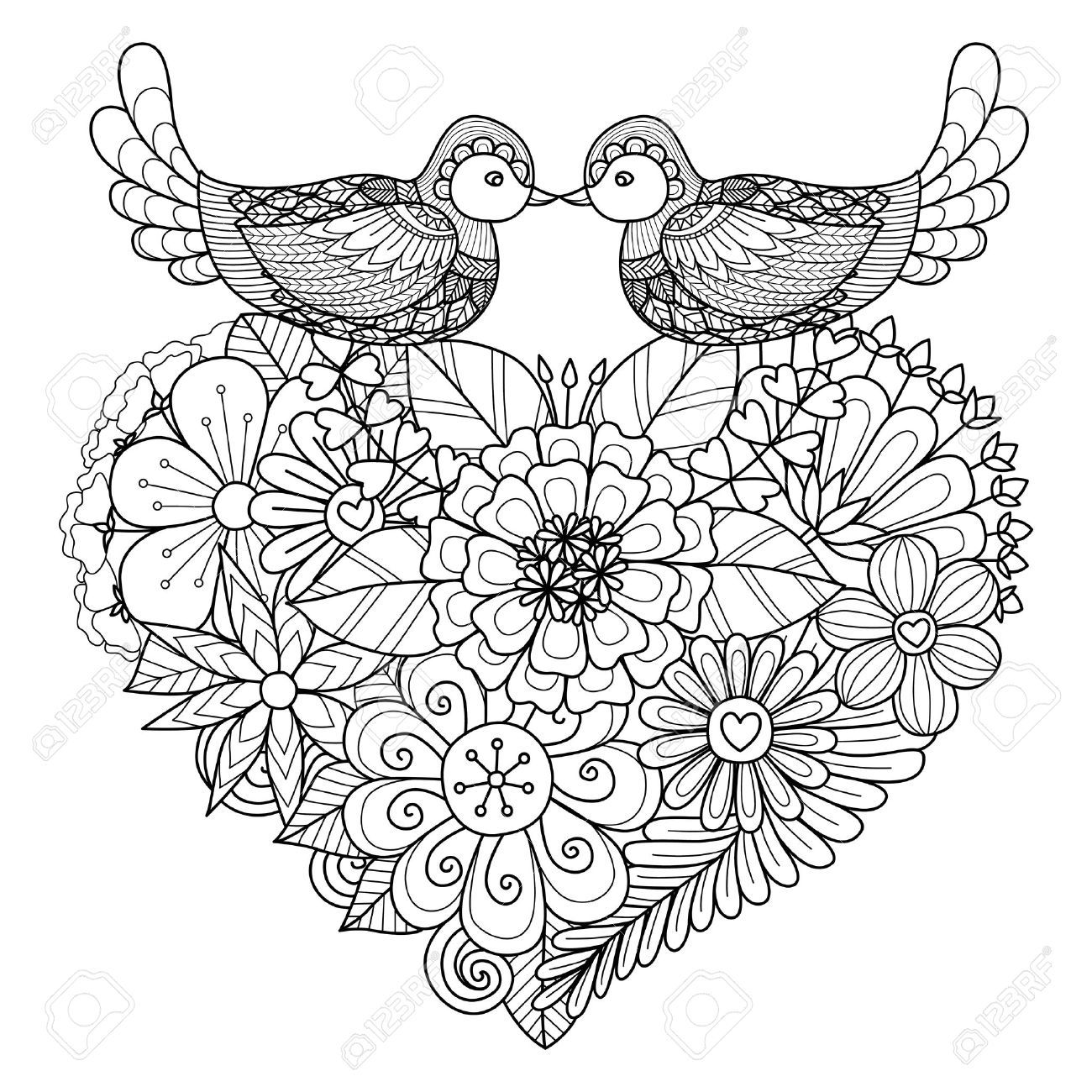 Two Birds Kissing Above Floral Heart Shape Nest For Coloring Page