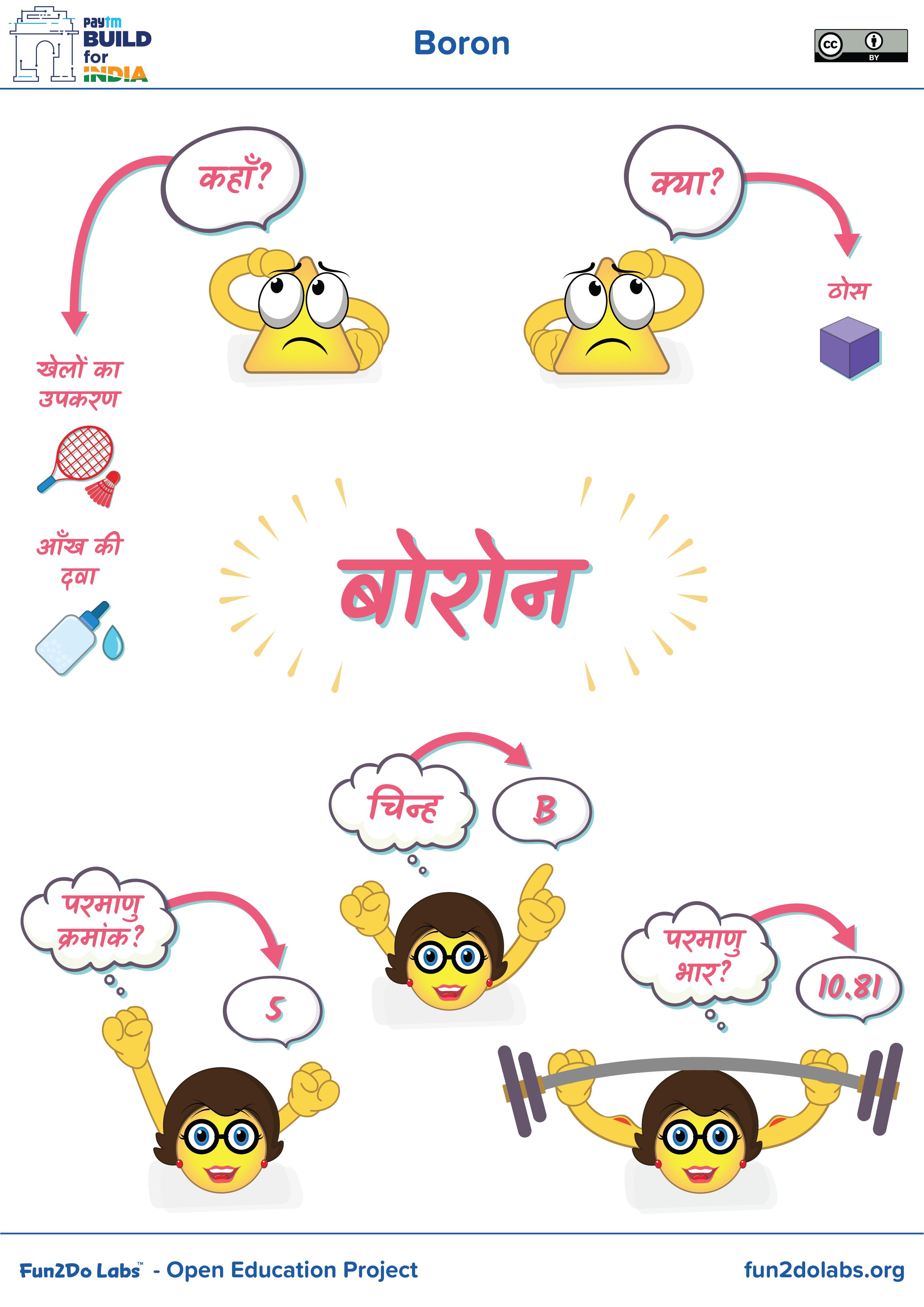 Poster In Hindi For Teaching Boron To Kids Boron Makeup Boron