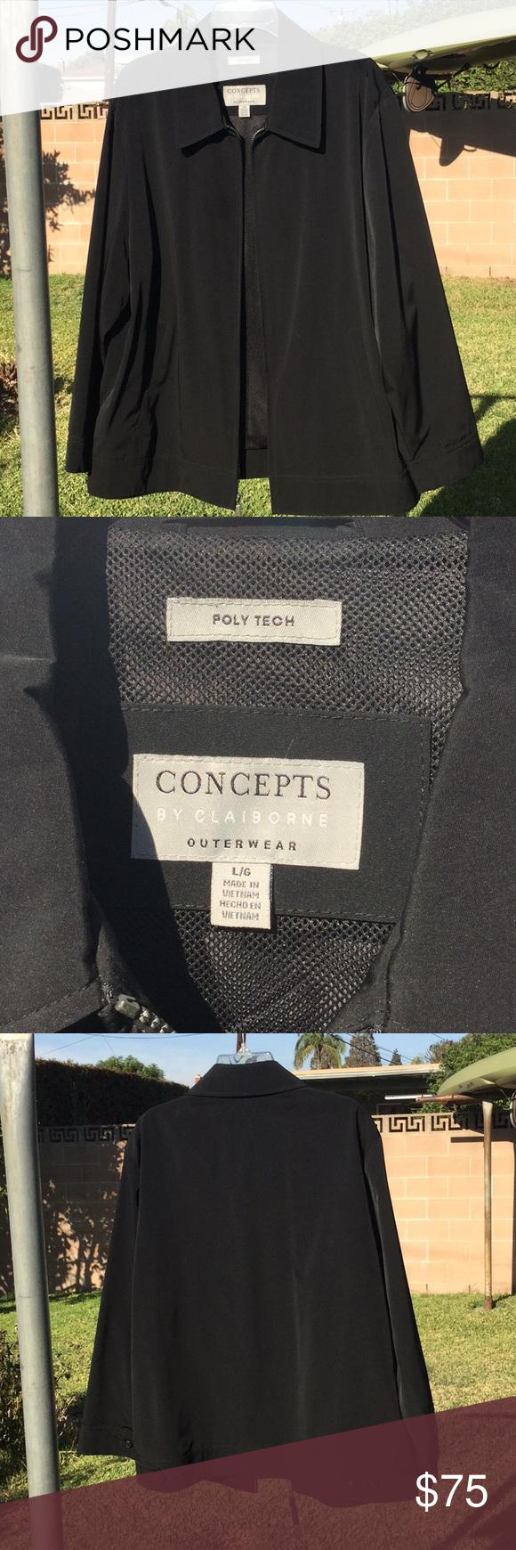 Claiborne Black Poly Tech Jacket Clothes Design Claiborne Black Jacket [ 1740 x 580 Pixel ]